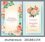 wedding cards with roses.... | Shutterstock .eps vector #281881154