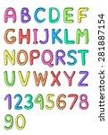 cute hand drawn alphabet ... | Shutterstock .eps vector #281887154