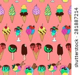 seamless pattern with different ... | Shutterstock .eps vector #281887214