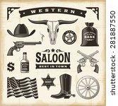 vintage western set | Shutterstock . vector #281887550