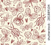 seamless pattern with insects.... | Shutterstock .eps vector #281889104