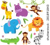 Stock vector cute vector set of zoo animals 281891843
