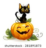 Stock vector black cat on a halloween pumpkin white background 281891873