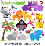 vector collection of cute... | Shutterstock .eps vector #281891906