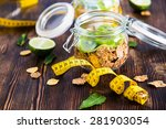 flakes with yogurt and kiwi in... | Shutterstock . vector #281903054