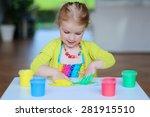 laughing little child  blonde... | Shutterstock . vector #281915510
