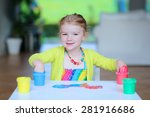 laughing little child  blonde... | Shutterstock . vector #281916686