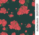 floral pattern with peonies....   Shutterstock .eps vector #281922029