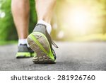 athlete runner feet running on... | Shutterstock . vector #281926760
