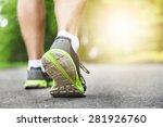 athlete runner feet running on... | Shutterstock . vector #281926760