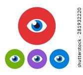 set of 4 minimalistic flat eye...