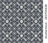 seamless pattern with skulls... | Shutterstock .eps vector #281934638