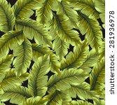 banana leaves pattern. vector... | Shutterstock .eps vector #281936978