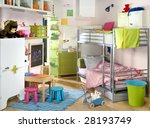 light children room with many toys - stock photo