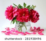 still life with bouquet of red... | Shutterstock . vector #281938496