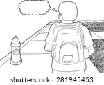 outline cartoon of student with ... | Shutterstock .eps vector #281945453