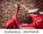 Red Vintage Motorcycle  ...