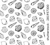 Sea Shells Vector Monochrome...