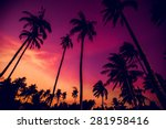 sunset on the beach. resort.... | Shutterstock . vector #281958416