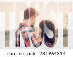 double exposure word trust... | Shutterstock . vector #281964314