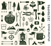 hand drawn camping icons and... | Shutterstock .eps vector #281984996