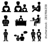 reading book icons vector. | Shutterstock .eps vector #281986358
