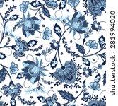jacobean print pattern seamless | Shutterstock .eps vector #281994020
