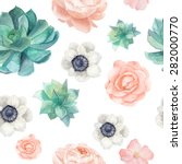 watercolor succulents and... | Shutterstock .eps vector #282000770