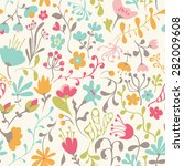 seamless pattern with hand... | Shutterstock .eps vector #282009608