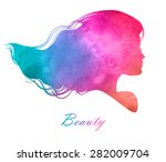 silhouette head with watercolor ...