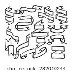 ribbon banners set in woodcut... | Shutterstock .eps vector #282010244