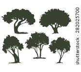 trees  a set of dark... | Shutterstock .eps vector #282025700