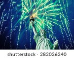 the statue of liberty and july... | Shutterstock . vector #282026240