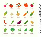 flat design icon vegetables set  | Shutterstock .eps vector #282036464