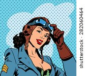 pin up girl pilot aviation army ... | Shutterstock .eps vector #282060464