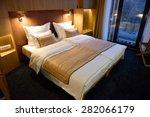 Stock photo interior of modern comfortable hotel room 282066179
