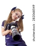 girl with a camera in glasses... | Shutterstock . vector #282068549