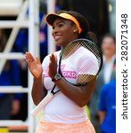Small photo of MADRID, SPAIN - MAY 1 : Serena Williams smiles during the the 2015 Mutua Madrid Open WTA Premier Mandatory tennis tournament charity day