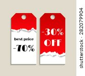 sale tag with red torn paper... | Shutterstock .eps vector #282079904
