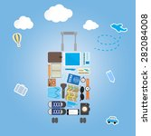 travel icon setting in luggage... | Shutterstock .eps vector #282084008