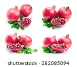 ripe pomegranates with leaves... | Shutterstock . vector #282085094