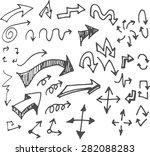 vector hand drawn arrows set... | Shutterstock .eps vector #282088283
