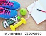 fitness concept  fresh fruits ...   Shutterstock . vector #282090980