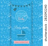 vector baby blue card with... | Shutterstock .eps vector #282092240