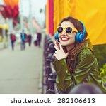 outdoor street style hipster dj ... | Shutterstock . vector #282106613