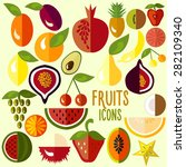fruit icons  set of flat... | Shutterstock .eps vector #282109340