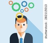 businessman brain with cog wheel   Shutterstock .eps vector #282115013