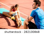 woman training with personal... | Shutterstock . vector #282130868