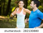 young couple running | Shutterstock . vector #282130880