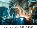 welding robots movement in a... | Shutterstock . vector #282133640
